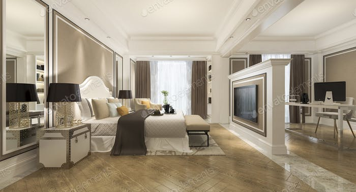 3d rendering classic luxury bedroom suite in hotel with tv and working table and european style