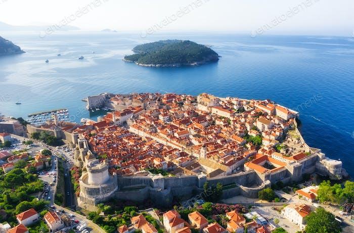 Dubrovnik, Croatia. Aerial landscape at the summer.
