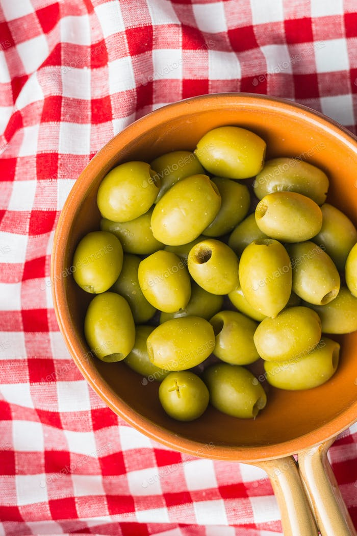 Pickled green olives.