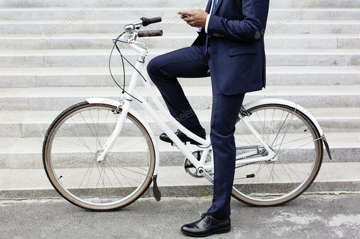 Riding to work on bicycle