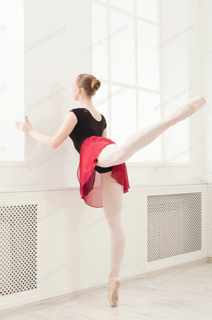 Beautiful ballerina dance on pointe