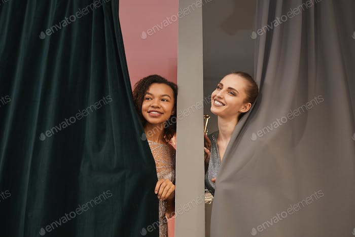 Two Young Women in Dressing Rooms