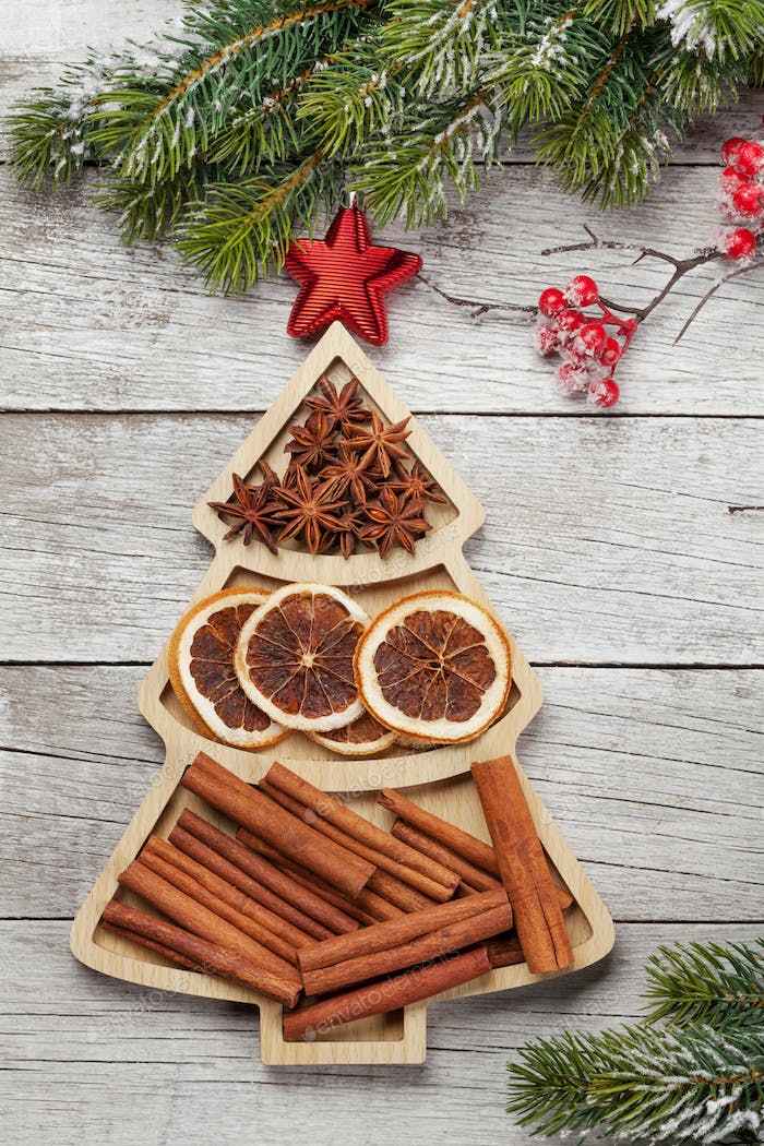 Christmas card with spices