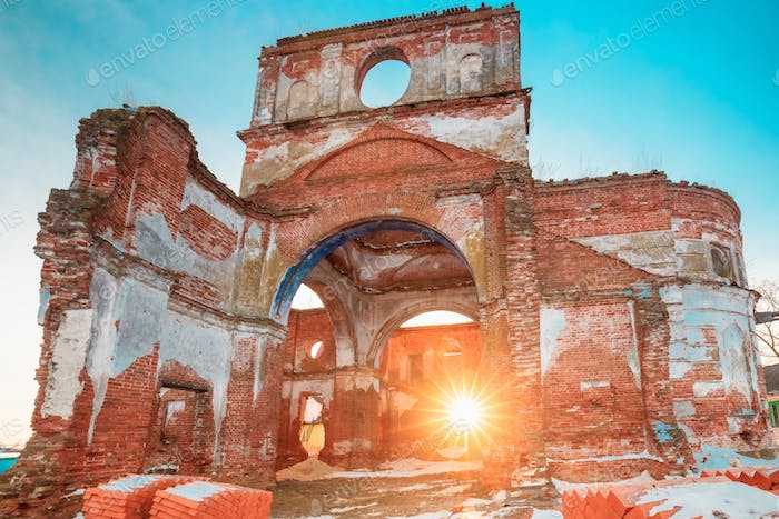 Sun Rays Shining Through Ruined Walls Of Old Ruined Orthodox Chu