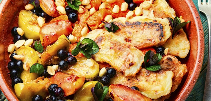 Baked fruits,berries with cheese