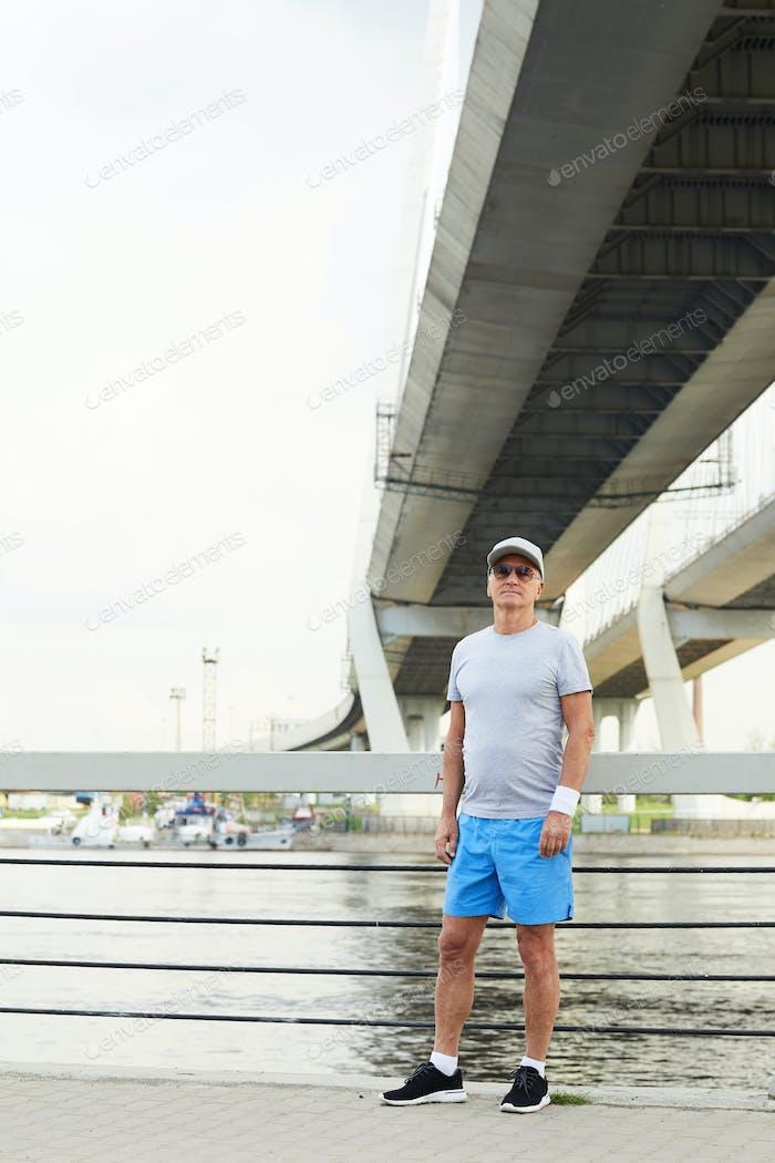 Sportsman on bridge