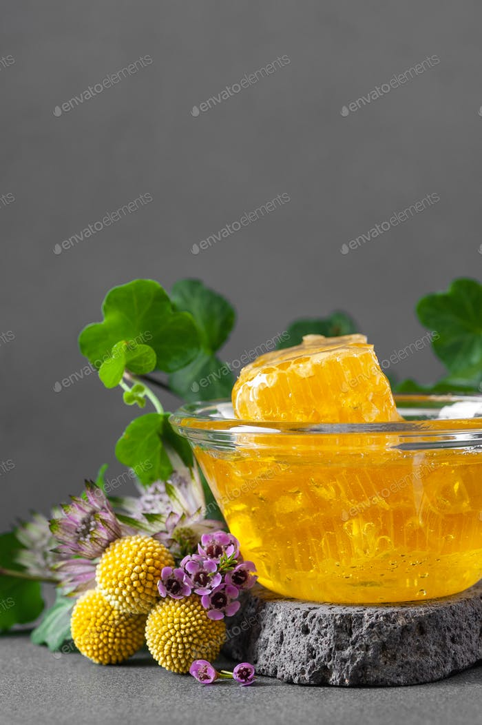 Honeycombs and floral honey with wildflowers. Vertical photo wit