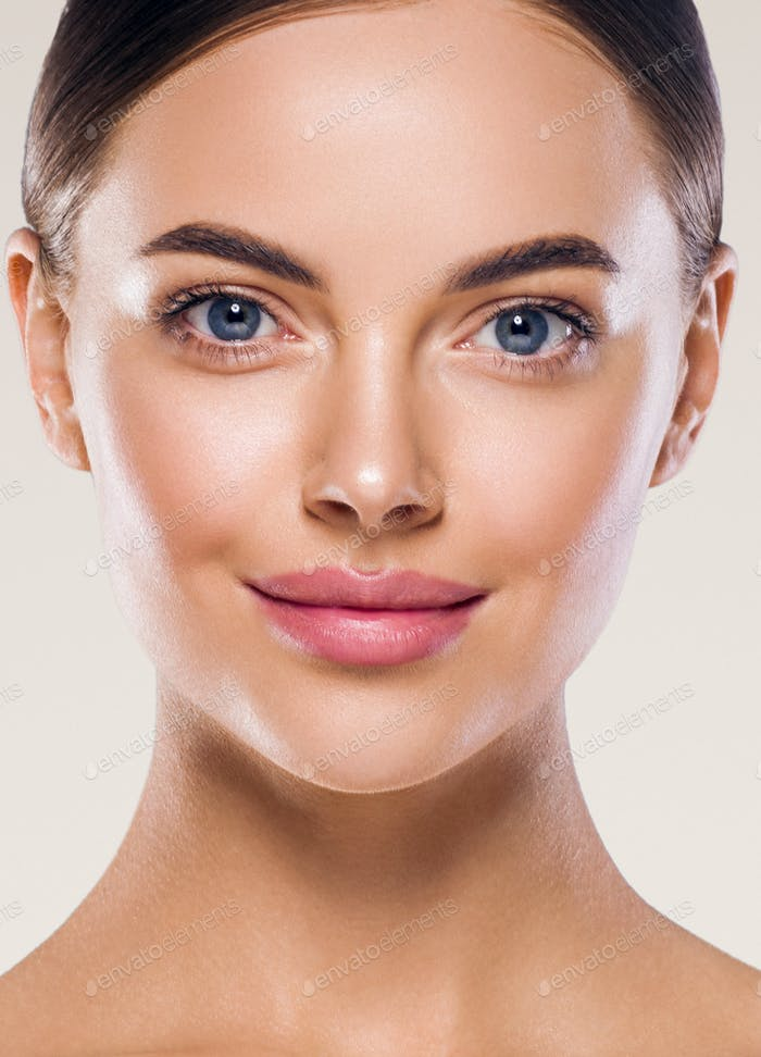 Clean fresh skin woman beauty close up cosmetic portrait