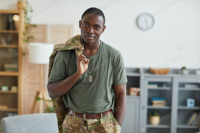 African american soldier with badge