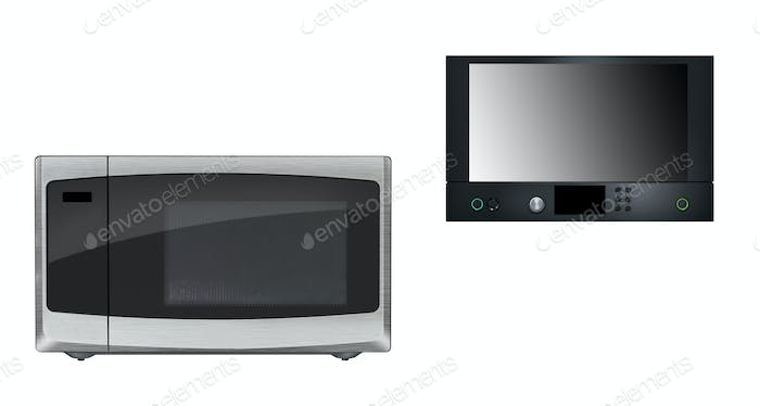 Microwaves isolated on white