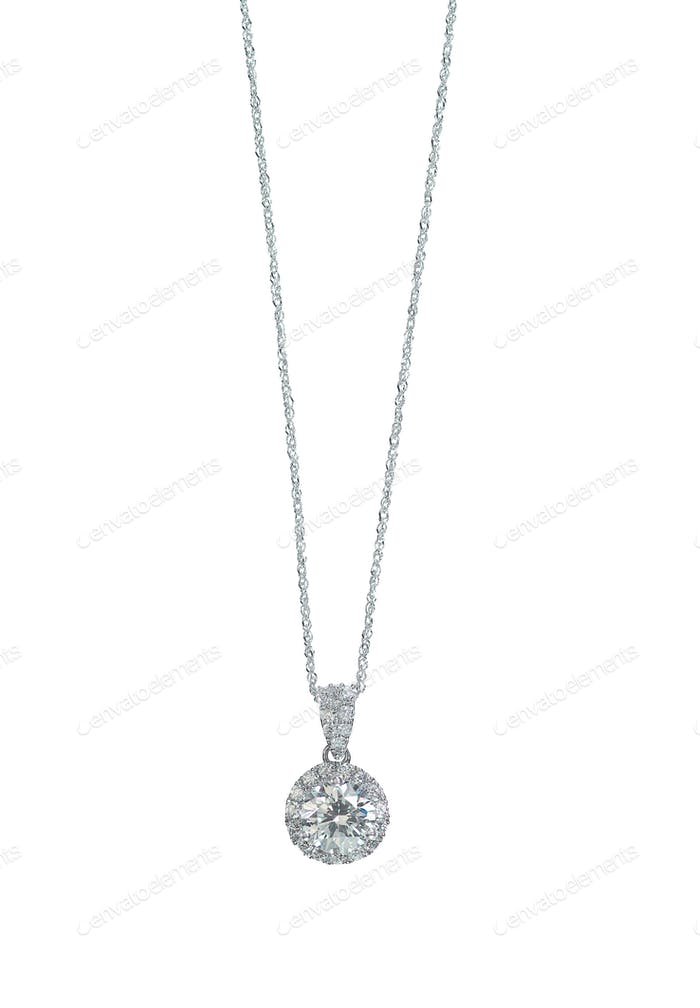 Diamond halo Pendant necklace on a chain