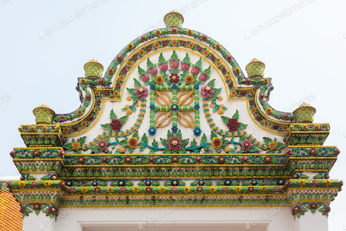 Temple of dawn close up decoration in Bangkok, Thailand