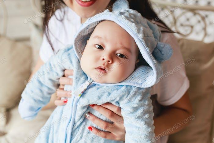 Portrait of a little adorable newborn infant asian baby