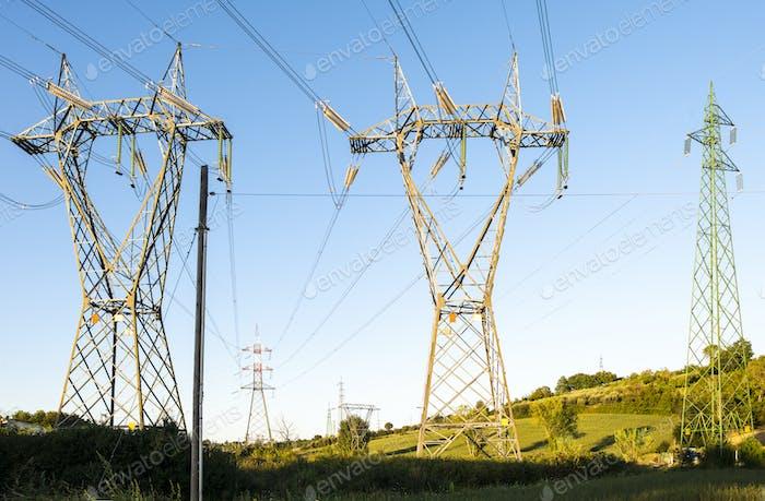 High voltage transmission lines.