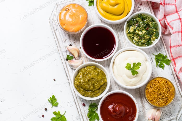 Sauce set assortment - mayonnaise, mustard, ketchup and others o