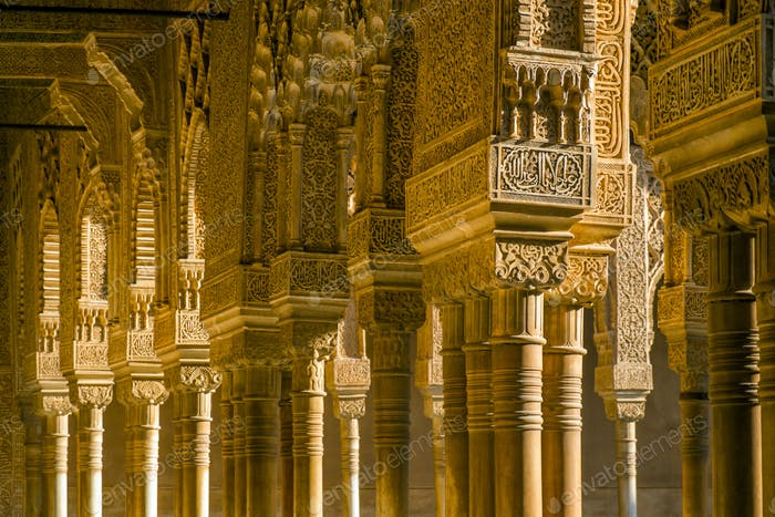 Ornate pillars in Alhambra, Granada, Andalusia, Spain
