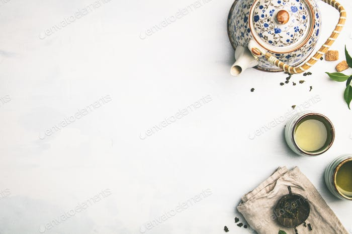 Tea composition on grey background