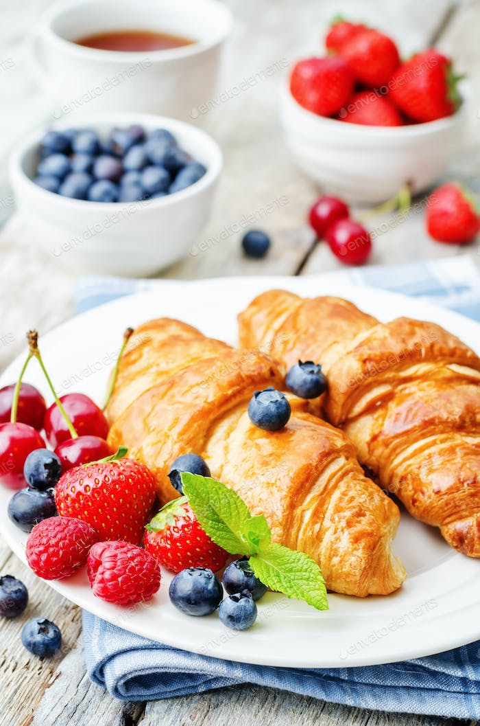 croissants with fresh berries