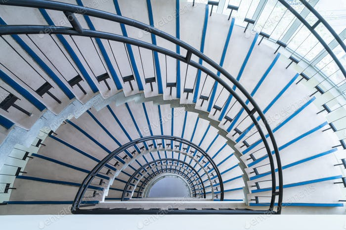helical stairway, simple modern semicircle staircase, view from the top down