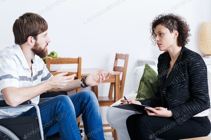 Man talking to psychologist