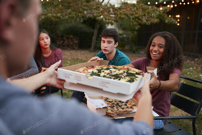 Teenage friends sitting at fire pit sharing take-away pizzas