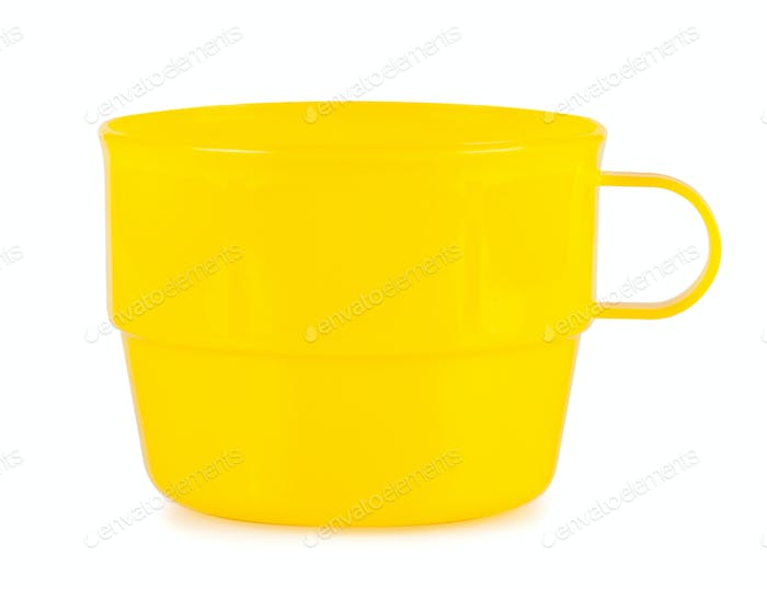 Yellow plastic cup