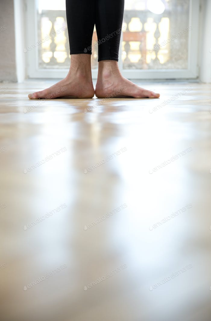 Closeup image of a man`s legs