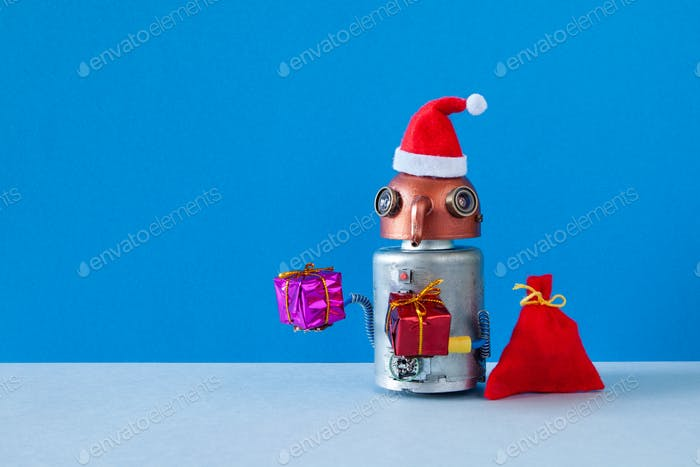 Santa Claus robot with gifts.