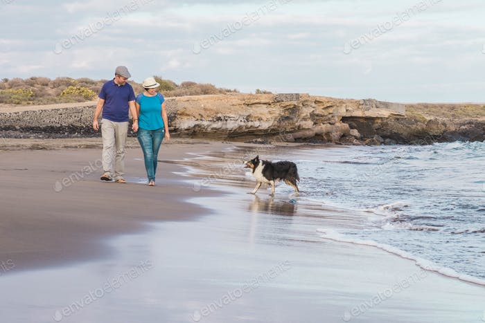 Adult couple in love walk outdooor