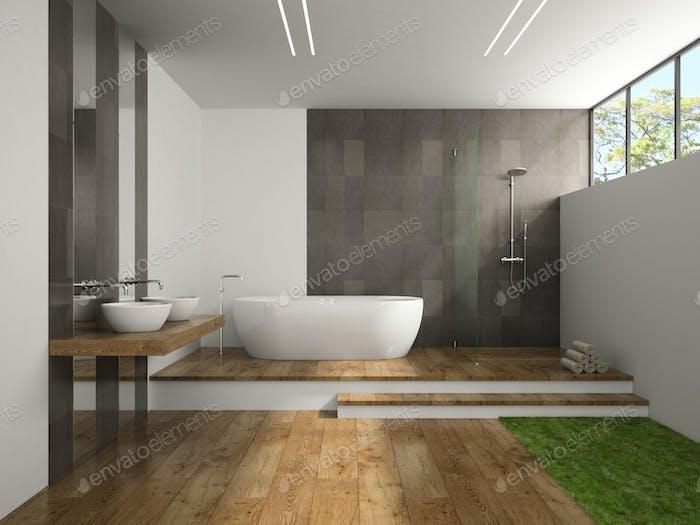 Interior of the bathroom with grass floor 3D rendering