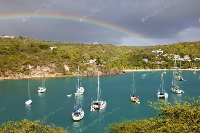 Caribbean Harbor With Sailboats And Rainbow, Antigua