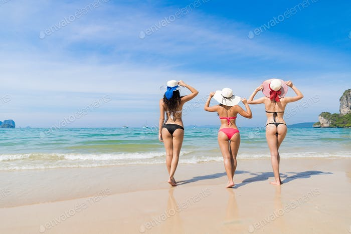 Girl Group On Beach Summer Vacation, Young Woman Wear Hat Sea Ocean
