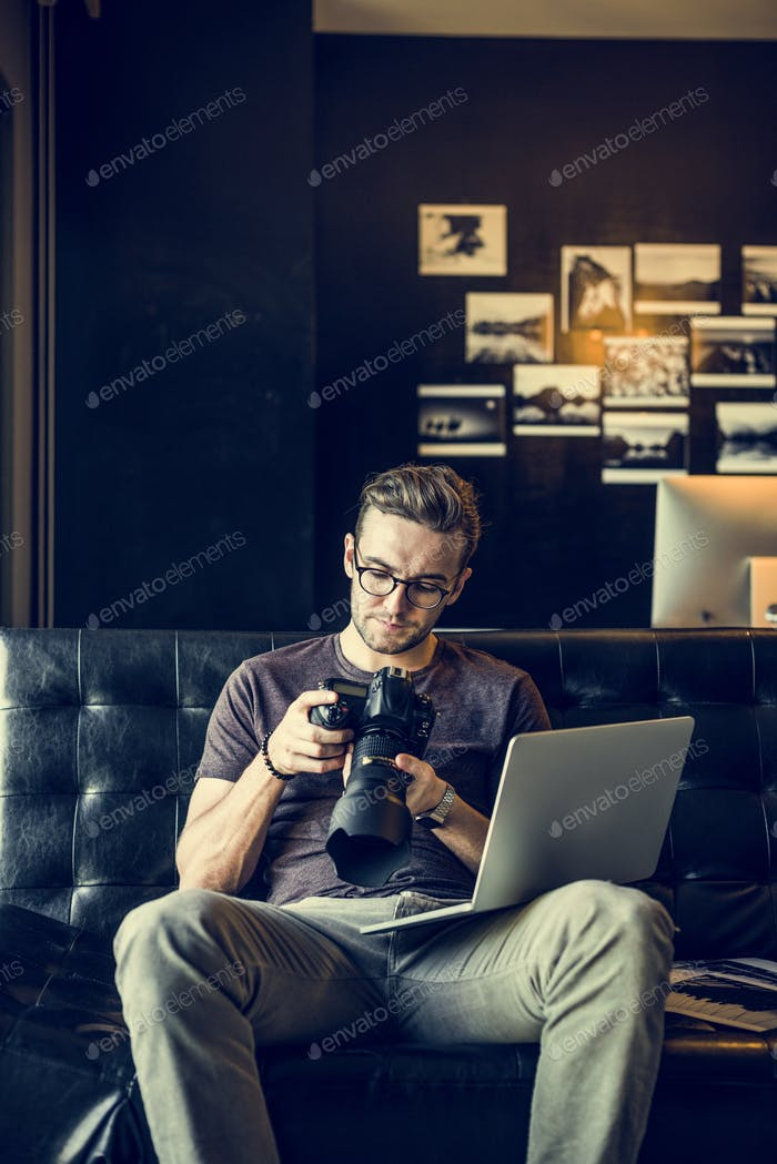 Man Busy Photographer Editing Home Office Concept