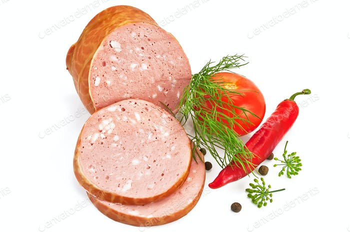 Sausage with tomato and pepper