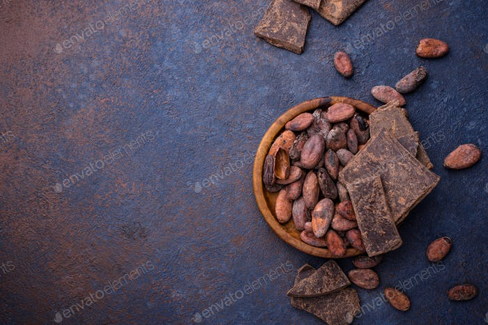 Natural cocoa beans and chocolate