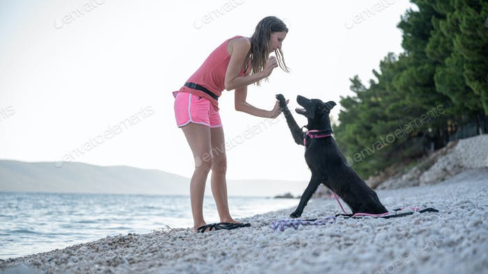 Young woman teaching her black shepherd dog a high five gesture