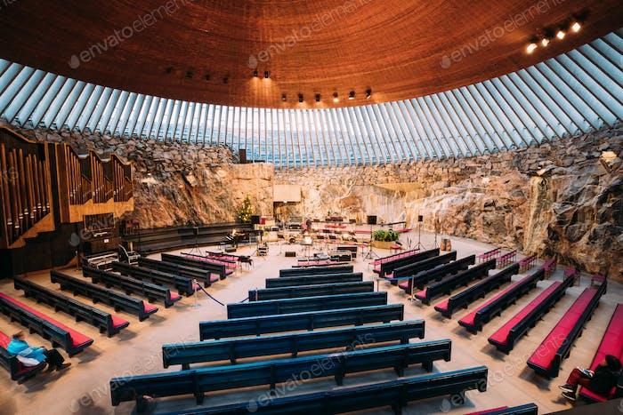 Helsinki, Finland. Interior Of Lutheran Temppeliaukio Church Als