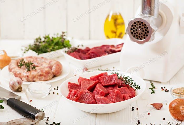Chopped raw meat.