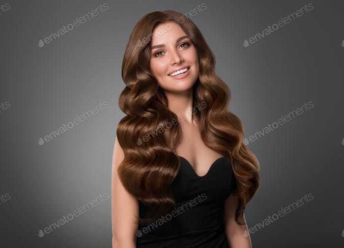 Beautiful hair woman curly hairstyle female