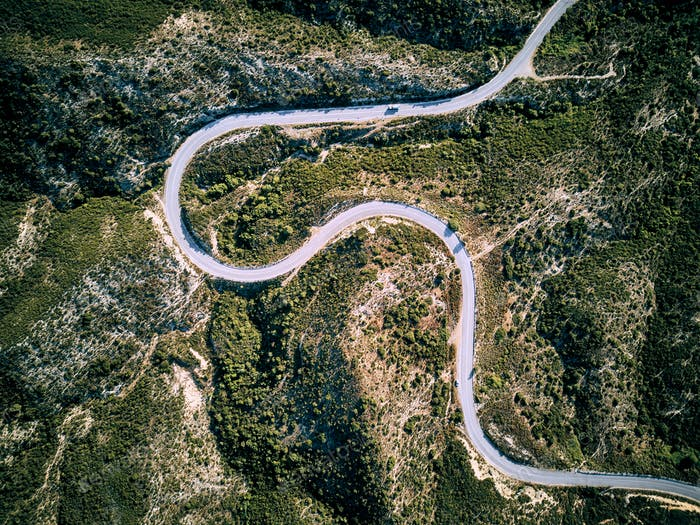 Winding road aerial view