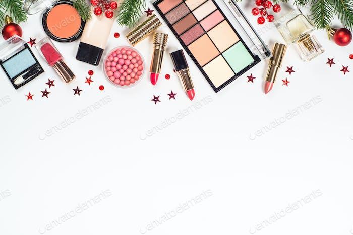 Makeup professional cosmetics with christmas decor