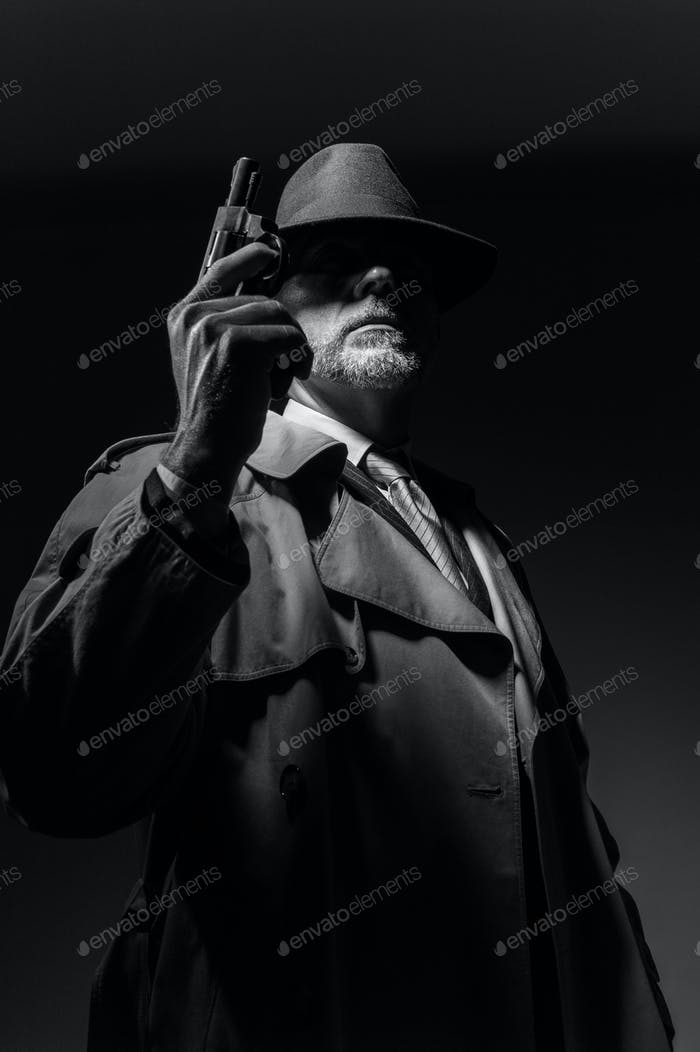 Porträt eines 1950er Jahre Stil Detektiv