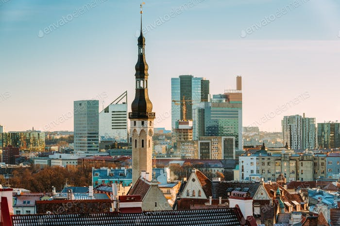 Tallinn, Estonia. View Of Tower Of Tallinn Town Hall On Backgrou