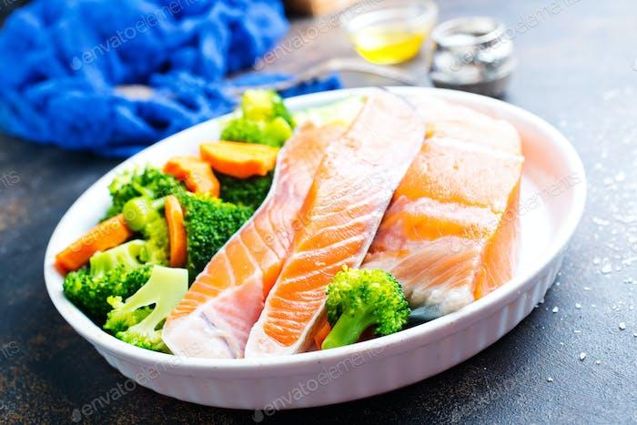 salmon with salad