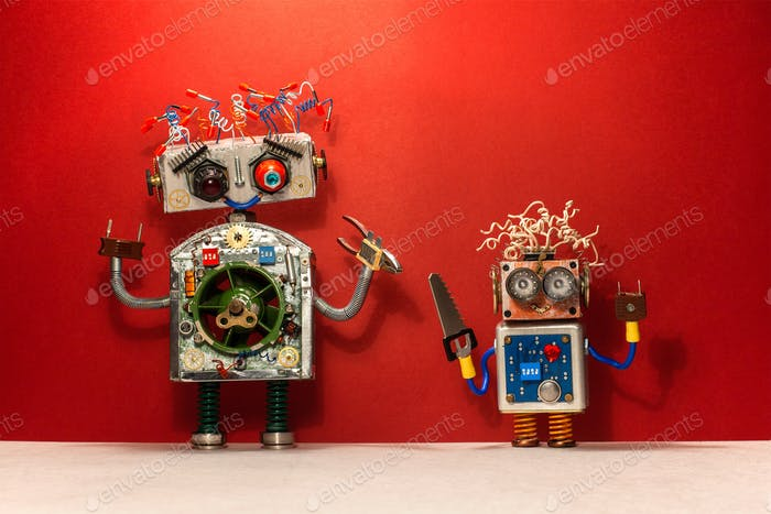 Reparaturservicekonzept. Roboter mit Handwerker DIY Werkzeuge.