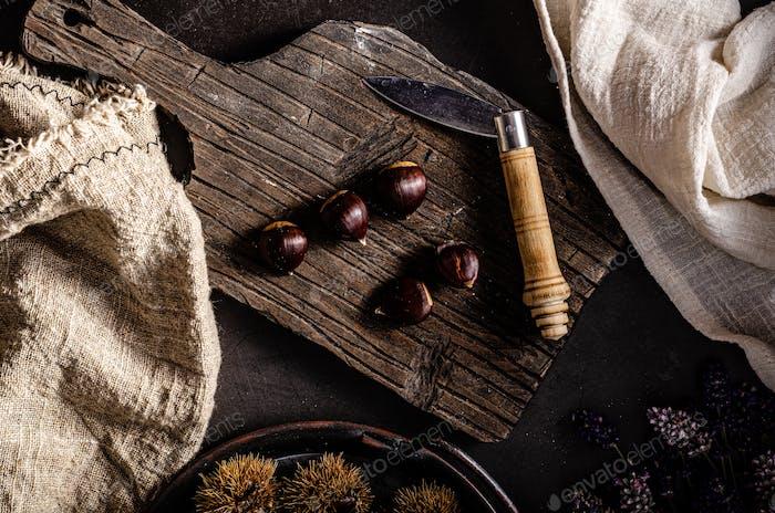 Fotografía de comida castañas