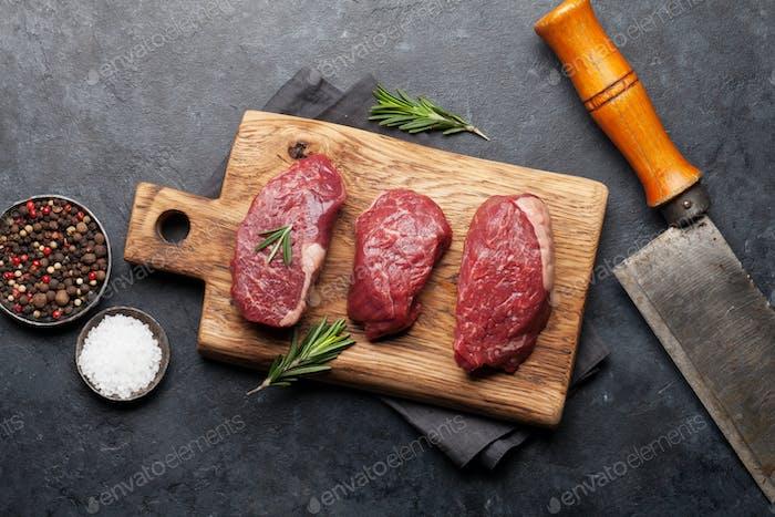 Filet Mignon frisches rohes Rindfleisch Steaks