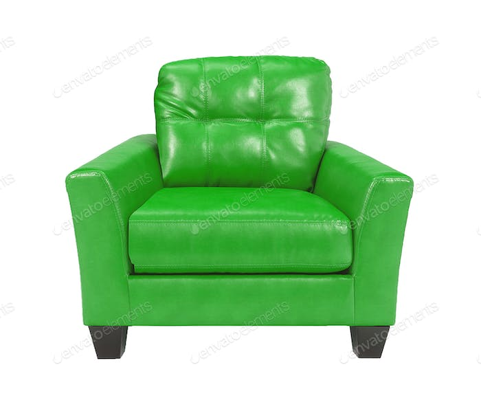 Green leather chair isolated