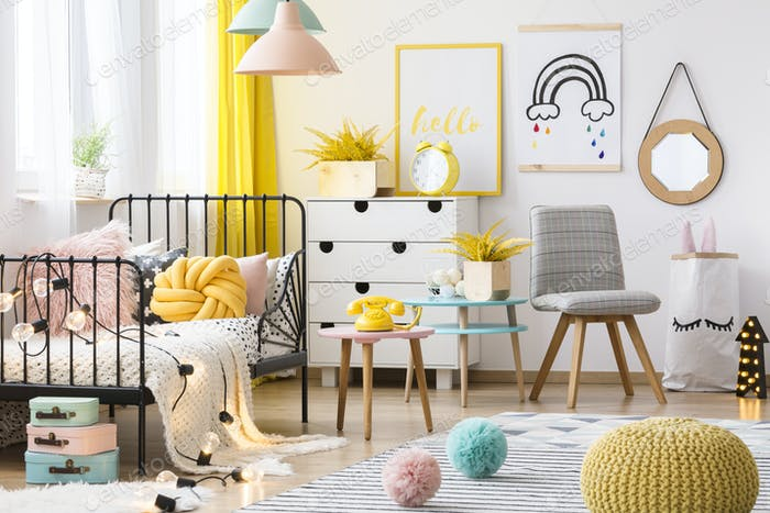 Pastel kid's room interior
