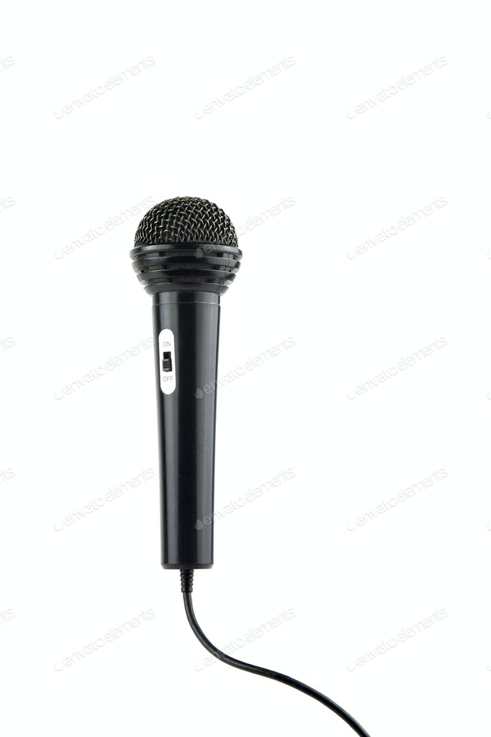 isolated in white background microphone with cable and switch